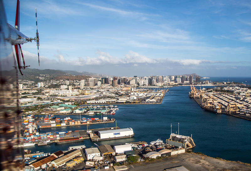 Honolulu by helicopter stock image