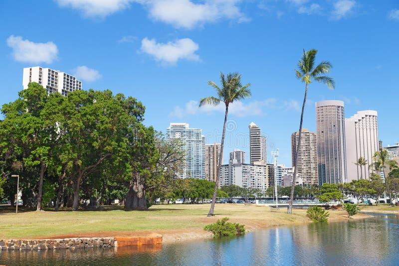 Honolulu i en otta, Hawaii, USA royaltyfria bilder