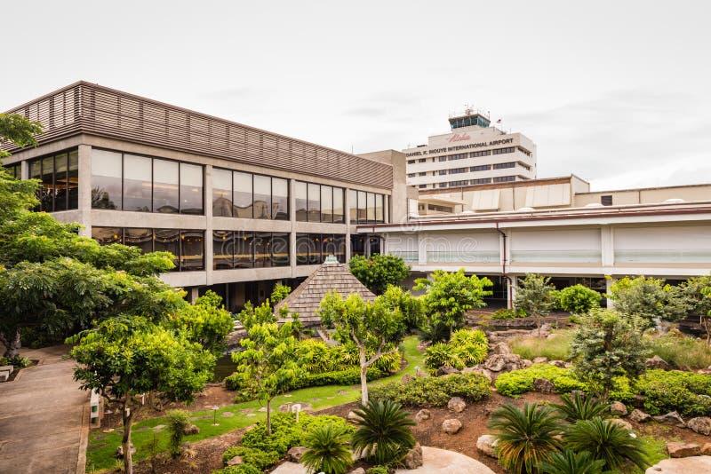 Honolulu International Airport Cultural Gardens. Honolulu, Hawaii / USA - August 26, 2018: Cultural gardens at Daniel K. Inouye International Airport show stock photos