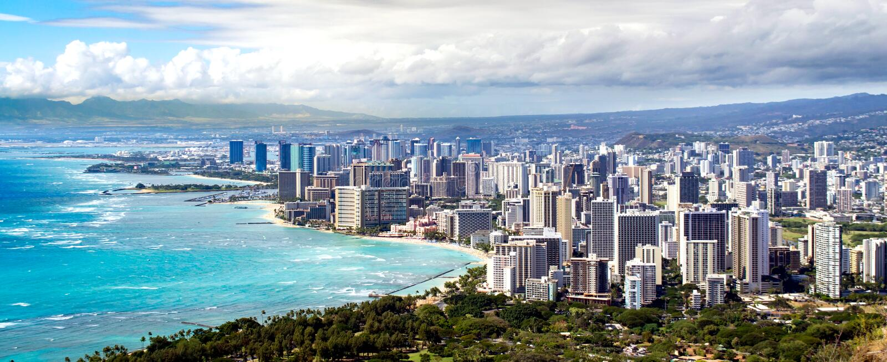 Honolulu kustlinje fotografering för bildbyråer