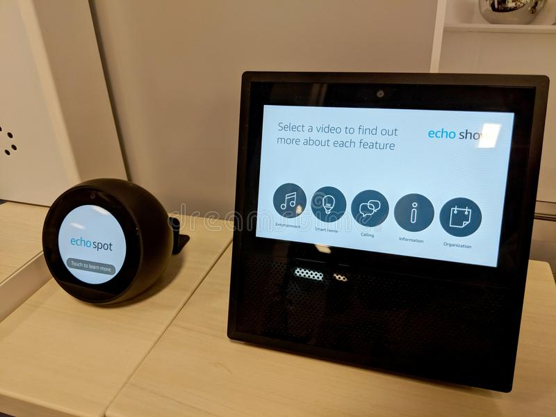Echo Show and Echo Spot on Display at Best Buy. Honolulu - March 7, 2018: Echo Show and Echo Spot on Display at Best Buy. Amazon Echo Show and Spot is a smart royalty free stock image