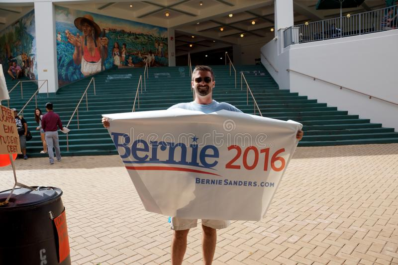 Man hold Bernie 2016 Sign stock image