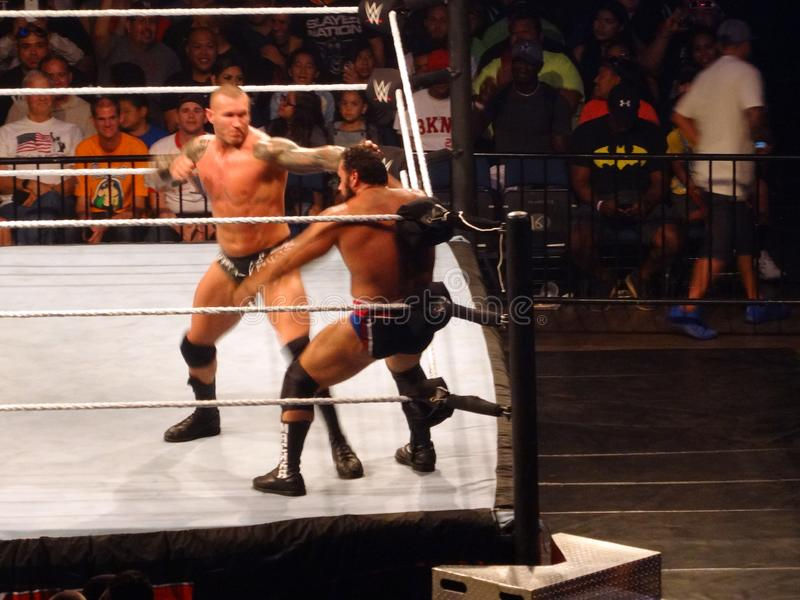 Wrestler Randy Orton punches WWE Wrestler Rusev in corner WWE ring at WWE event. Honolulu - September 13, 2017: wrestler Randy Orton punches WWE Wrestler Rusev stock photos