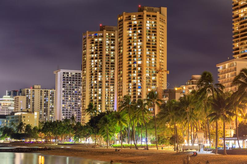 Honolulu skyline with Waikiki beach, hotels building at sunset, Hawaii stock image