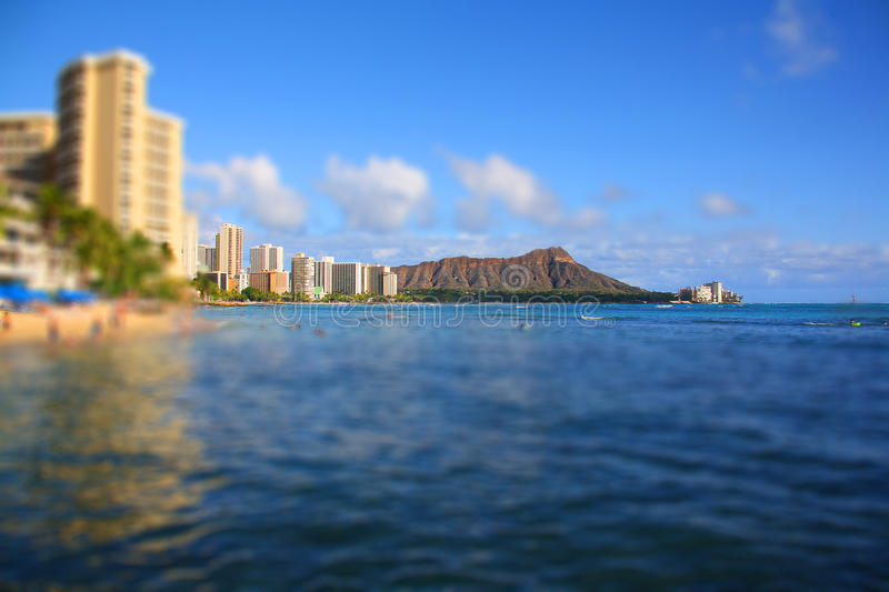 Honolulu Tilt Shift. A tilt shift view of Honululu and Diamond Head royalty free stock photo