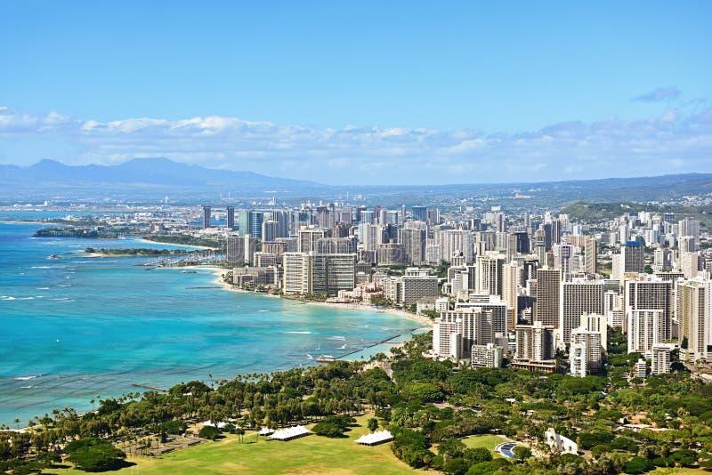 Honolulu and Waikiki beach on Oahu Hawaii. View from the famous Diamond Head hike from Diamond Head State Monument and park, Oahu, Hawaii, USA royalty free stock photography