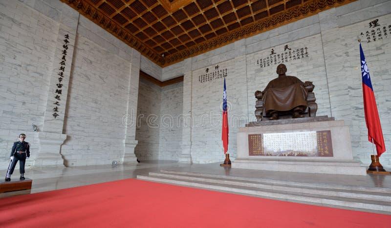 Honor Guard in Chiang Kai-shek Memorial Hall. Guard in the main chamber of National Chiang Kai-shek Memorial Hall, which is a Taiwanese national monument stock photo