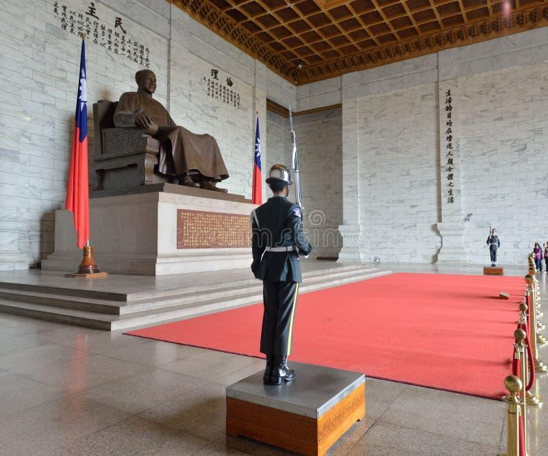 Honor Guard in Chiang Kai-shek Memorial Hall. Guard in the main chamber of National Chiang Kai-shek Memorial Hall, which is a Taiwanese national monument stock photos