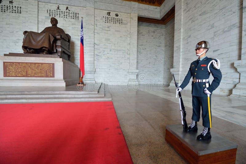 Honor Guard in Chiang Kai-shek Memorial Hall. Guard in the main chamber of National Chiang Kai-shek Memorial Hall, which is a Taiwanese national monument stock images