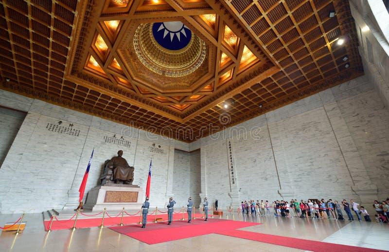 Honor Guard in Chiang Kai-shek Memorial Hall. Guard mounting ceremony in National Chiang Kai-shek Memorial Hall, which is a Taiwanese national monument, landmark royalty free stock photography