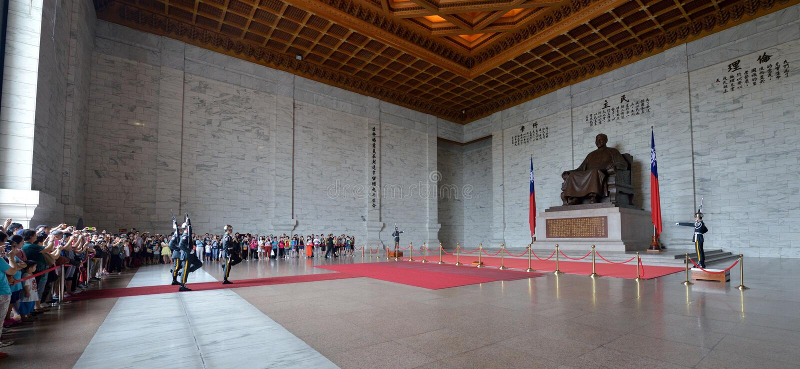Honor Guard in Chiang Kai-shek Memorial Hall. Guard mounting ceremony in National Chiang Kai-shek Memorial Hall, which is a Taiwanese national monument, landmark stock images