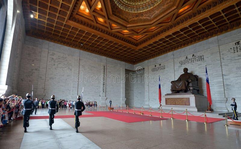 Honor Guard in Chiang Kai-shek Memorial Hall. Guard mounting ceremony in National Chiang Kai-shek Memorial Hall, which is a Taiwanese national monument, landmark royalty free stock images