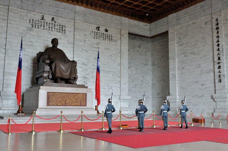 Honor Guard in Chiang Kai-shek Memorial Hall. Guard mounting ceremony in National Chiang Kai-shek Memorial Hall, which is a Taiwanese national monument, landmark royalty free stock photo