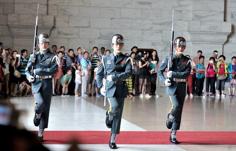 Honor Guard in Chiang Kai-shek Memorial Hall. Guard mounting ceremony in National Chiang Kai-shek Memorial Hall, which is a Taiwanese national monument, landmark stock photos
