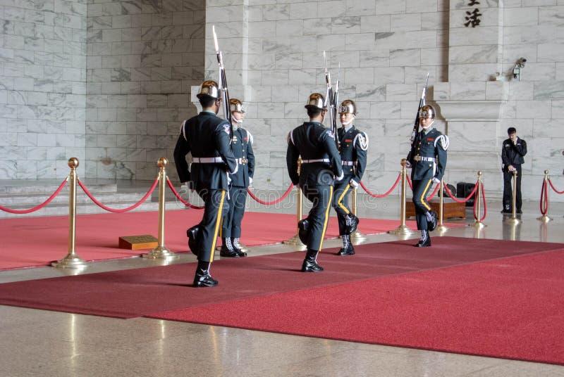 Honor Guard in Chiang Kai-shek Memorial Hall. Taipei, Taiwan on April 28, 2017 royalty free stock photo