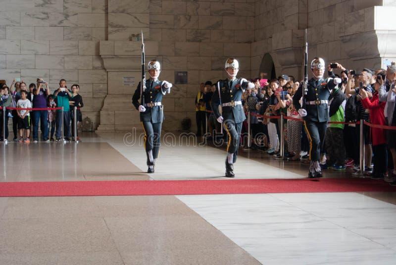 Honor Guard in Chiang Kai-shek Memorial Hall. Taipei, Taiwan on April 28, 2017 stock photography
