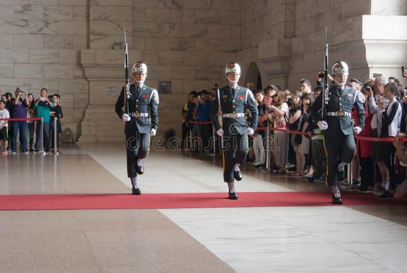 Honor Guard in Chiang Kai-shek Memorial Hall. Taipei, Taiwan on April 28, 2017 royalty free stock photos