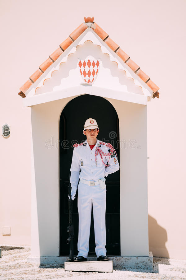 Honor guard on duty at royal palace, residence of Prince of Monaco. stock photo