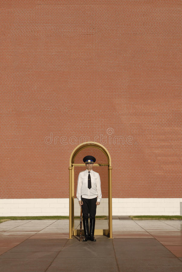 Honor Guard by Kremlin Wall in Moscow stock photography