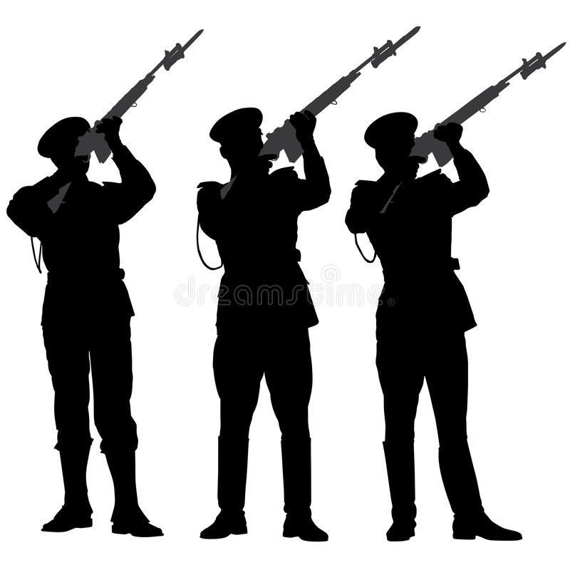 Honor Guard Silhouette stock images