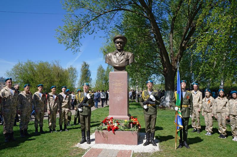 Honor guard of troopers and cadets at the monument to Basil Margelov - commander of airborne troops. Celebration of the Victory Da. Tver, Russia - May 09, 2018 stock photos