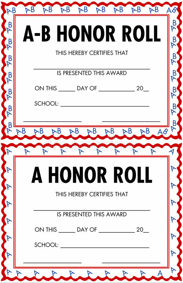 a b honor roll certificate template - a and b honor roll