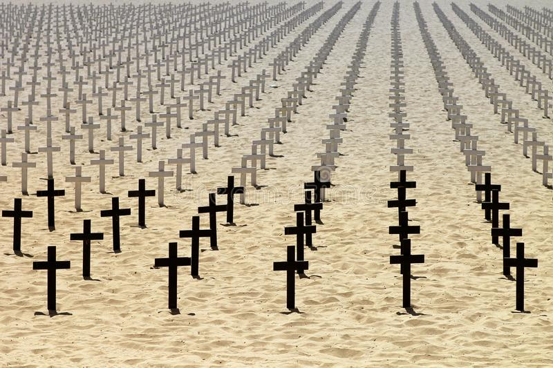 Honor to the dead soldiers. On beach stock image