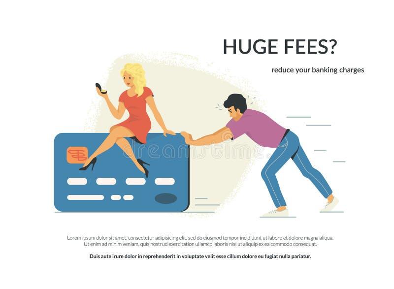 Honoraires et frais bancaires énormes Le jeune homme pousse en avant son épouse s'asseyant sur la grande carte de crédit illustration stock