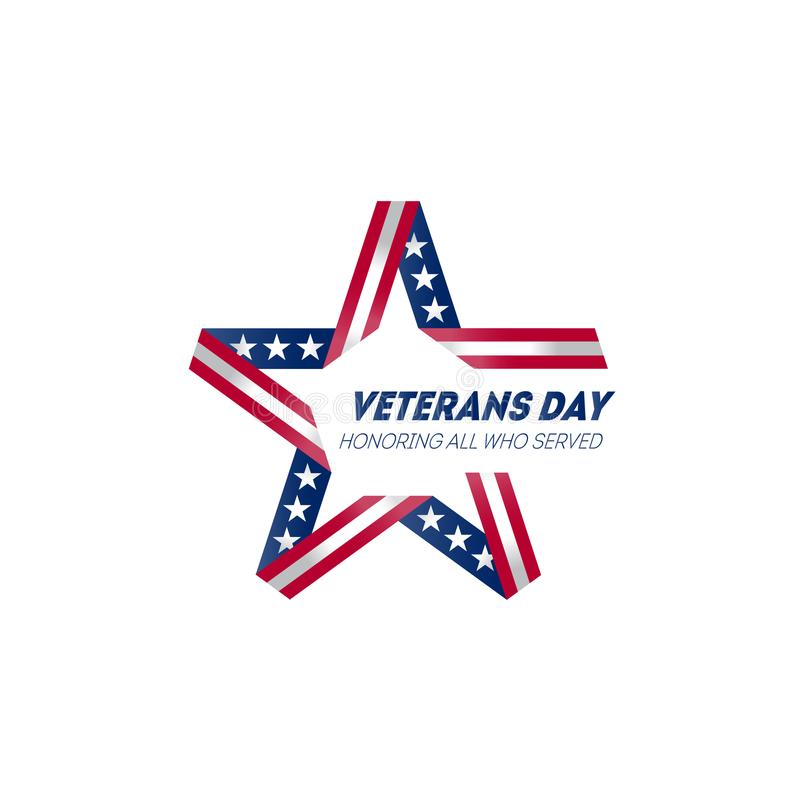 Honored All Who Served. Veterans Day. Poster Template with inscription. Vector illustration for Veterans Day. Veterans Day emblem. With USA flag colors and stock illustration