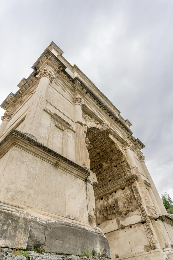 The Honorific Arch of Titus, Rome, from Below. The Arch of Titus, situated in the Roman Forum, in Rome, an honorific triumphal arch to commemorate Titus' stock photos