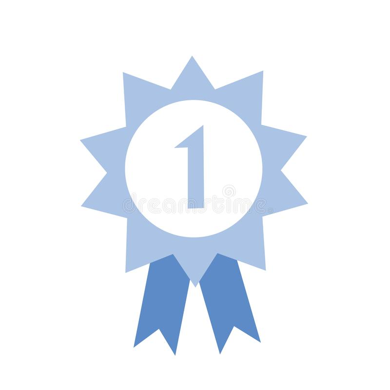 Honour award with number one and ribbon. Blue award icon. Flat vector illustration on white background. vector illustration