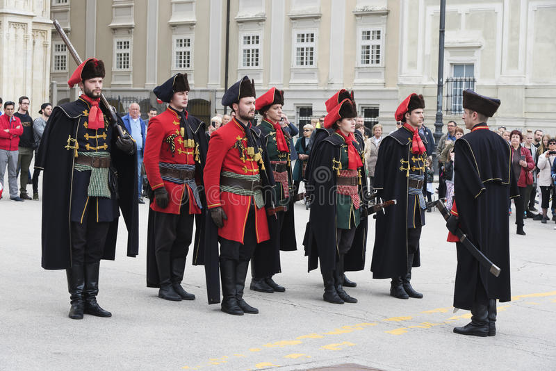 Honour Guard in the City of Zagreb Croatia royalty free stock images