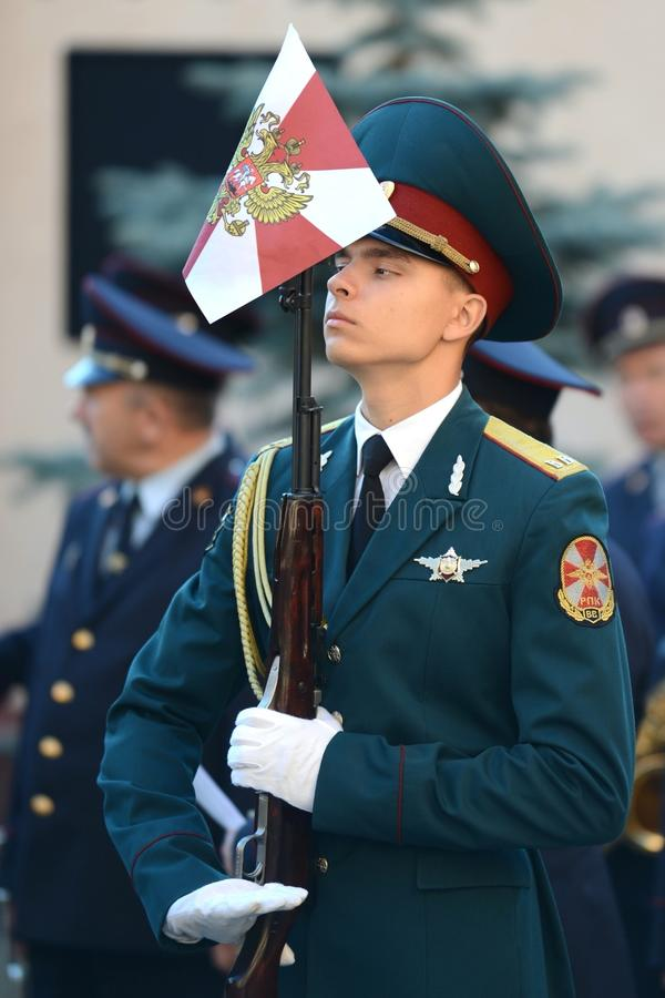 The honour guard of interior Ministry troops of Russia. MOSCOW, RUSSIA - SEPTEMBER 6, 2014:The honour guard of interior Ministry troops of Russia. Special stock image