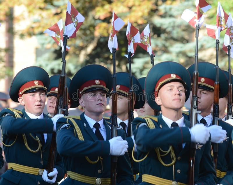 The honour guard of interior Ministry troops of Russia. MOSCOW, RUSSIA - SEPTEMBER 6, 2014:The honour guard of interior Ministry troops of Russia. Special royalty free stock image