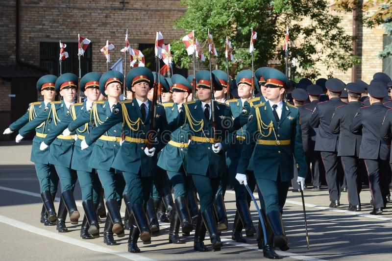 The honour guard of interior Ministry troops of Russia. MOSCOW, RUSSIA - SEPTEMBER 6, 2014:The honour guard of interior Ministry troops of Russia. Special stock photo
