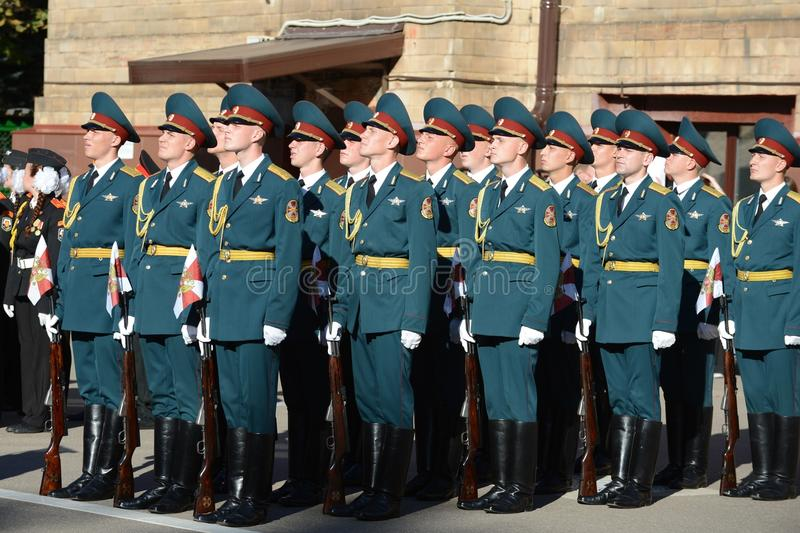 The honour guard of interior Ministry troops of Russia. MOSCOW, RUSSIA - SEPTEMBER 6, 2014:The honour guard of interior Ministry troops of Russia. Special royalty free stock photo