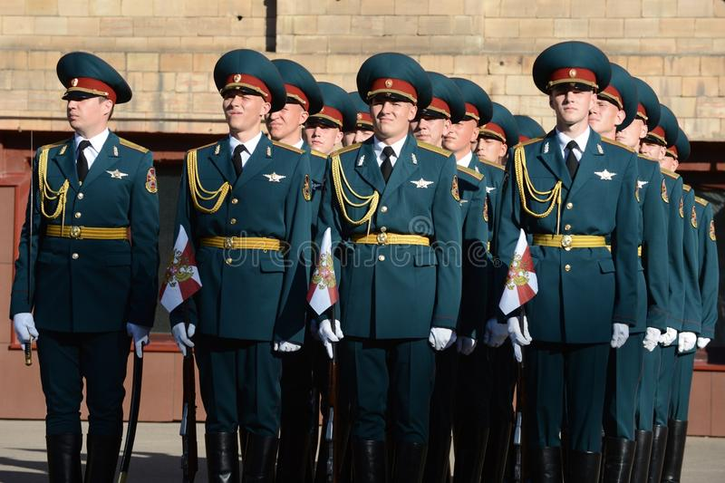 The honour guard of interior Ministry troops of Russia. MOSCOW, RUSSIA - SEPTEMBER 6, 2014:The honour guard of interior Ministry troops of Russia. Special royalty free stock images