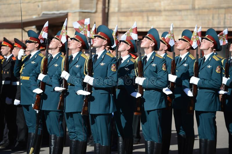 The honour guard of interior Ministry troops of Russia. MOSCOW, RUSSIA - SEPTEMBER 6, 2014:The honour guard of interior Ministry troops of Russia. Special stock images