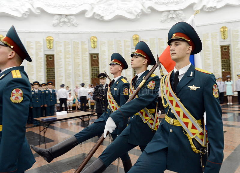 The honour guard of interior Ministry troops of Russia. Special military formations are designed to ensure the internal security o. MOSCOW, RUSSIA - JULY 23,2014 stock photo