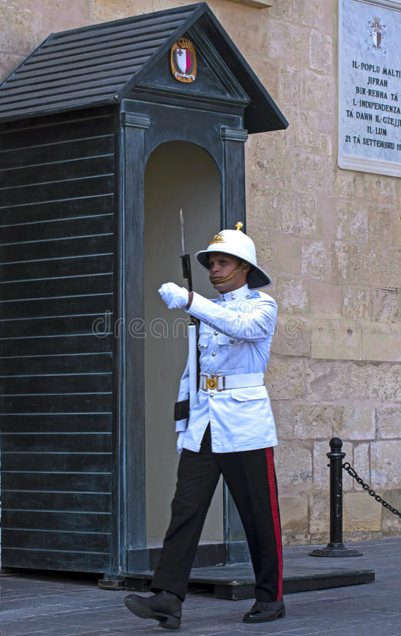 Honour guard. Malta, Valletta - July 31, 2015: Honour guard in front of the Grand Masters Palace royalty free stock photography
