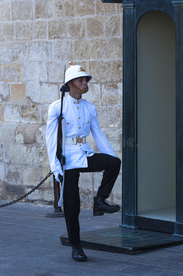 Honour guard. Malta, Valletta - July 31, 2015: Honour guard in front of the Grand Masters Palace royalty free stock image