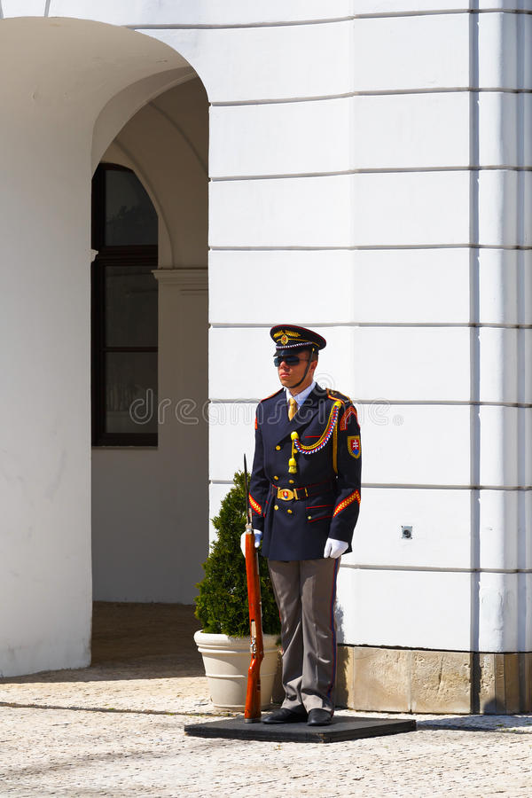 Honour guard. Member of honour guard in front of the presidential palace in Bratislava, Slovakia stock photography