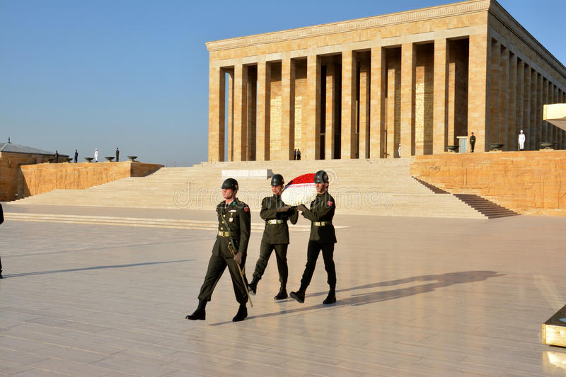 Honour guards at the Ataturk Mausoleum. Ankara, Turkey. October 5th 2016 - Honour guards at the Ataturk Mausoleum, Anitkabir, monumental tomb of Mustafa Kemal stock images