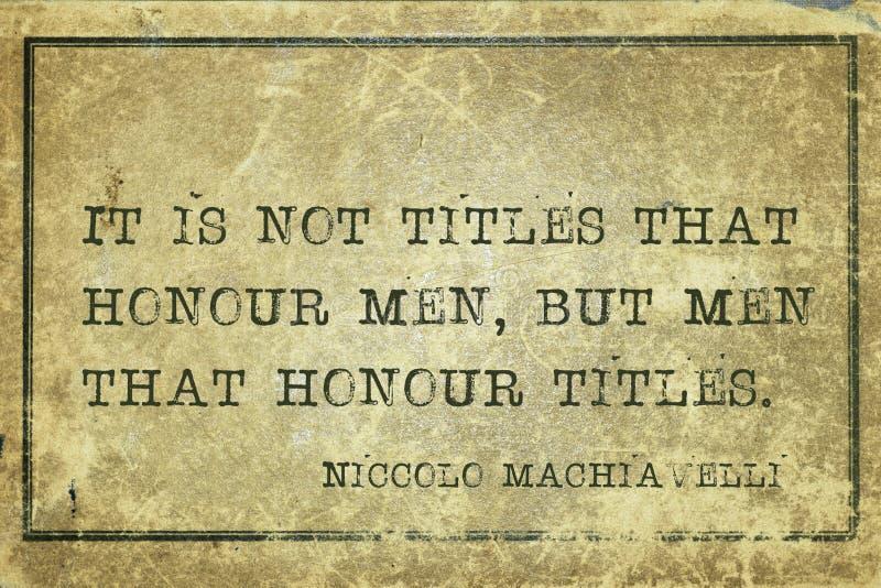 Honra Machiavelli dos homens ilustração do vetor