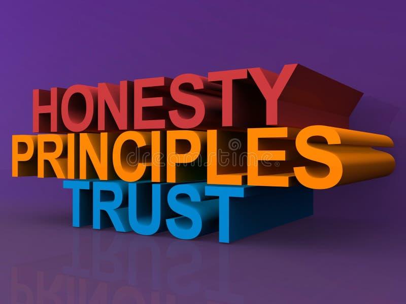 Honradez, principios y confianza ilustración del vector
