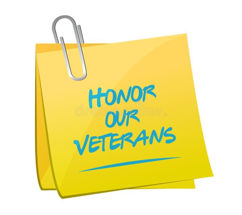 honre nuestro diseño del ejemplo de la nota de los veteranos ilustración del vector