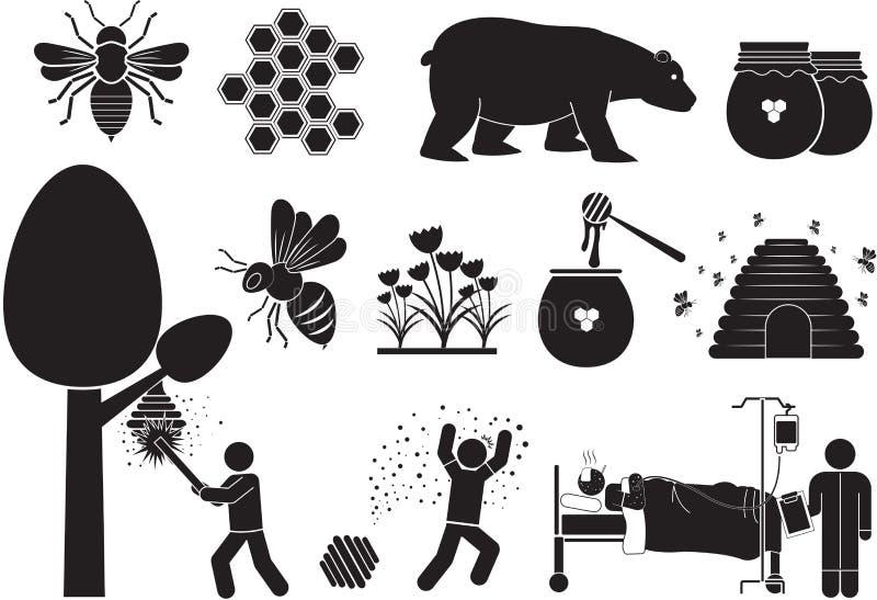 Honung-bi stock illustrationer