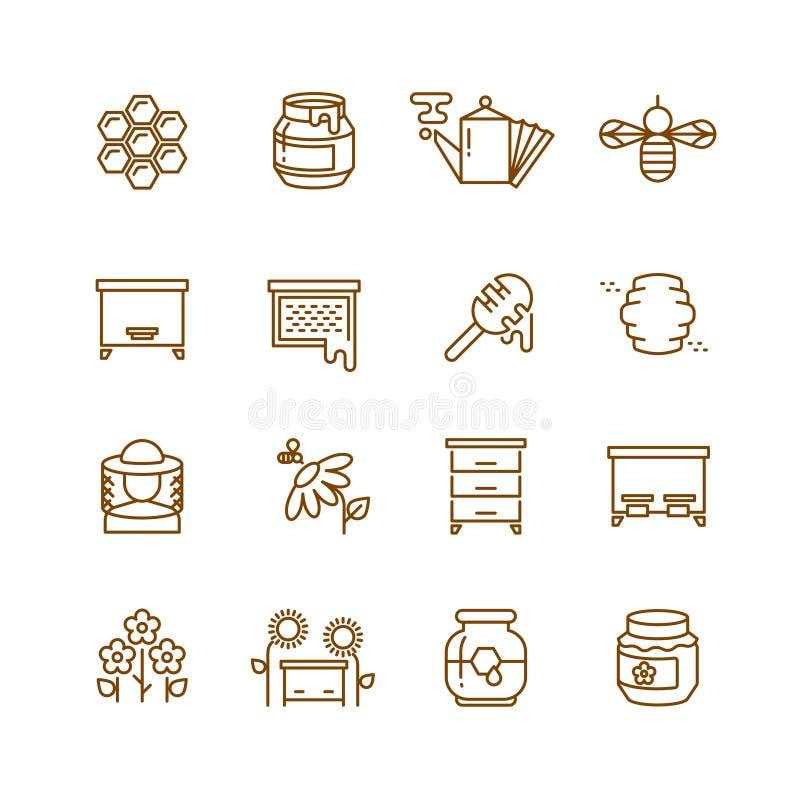 Honung biet, den tunna linjen vektorsymboler för biodling ställde in royaltyfri illustrationer
