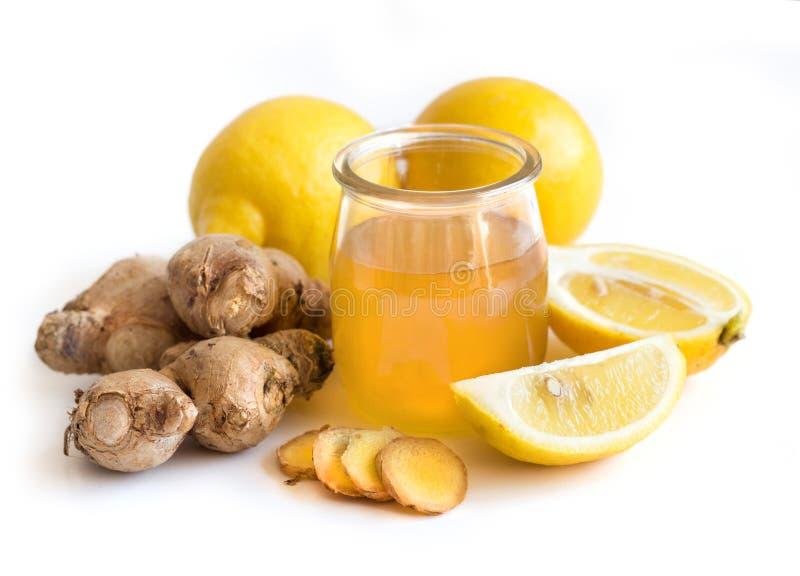 Honung, citron och ingefära royaltyfri bild