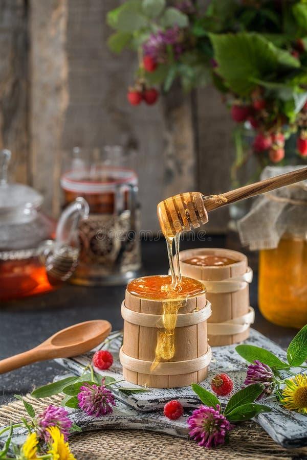 Honung dryper från en sked in i en träbunke royaltyfria foton